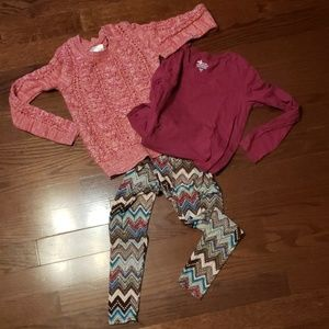 Justice Sweater/LS shirt and legging set
